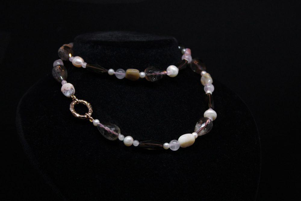 Girocollo argento quarzo perle