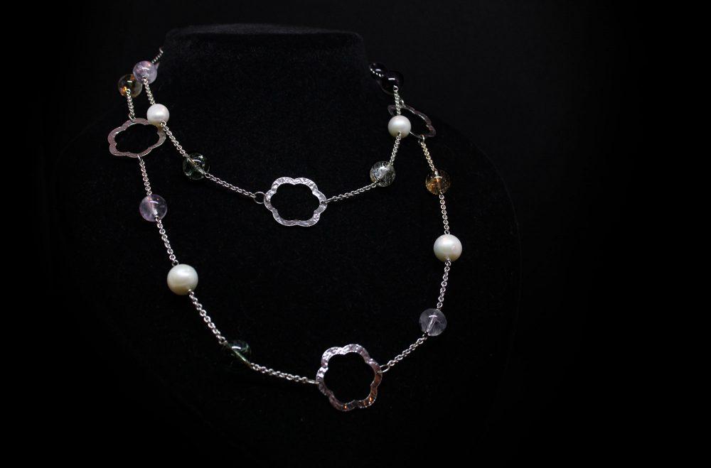 Collana argento perle e quarzi
