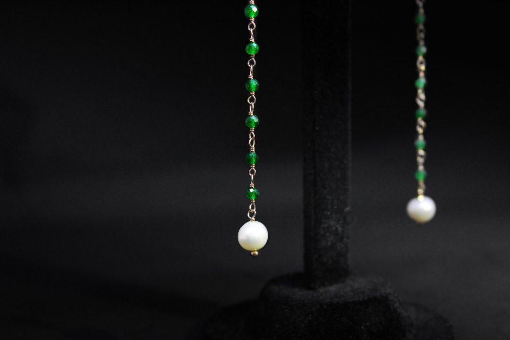 Orecchini quarzo perle